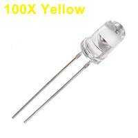Granos Amarillos Claros Al Por Mayor Baratos-Venta al por mayor-100Pcs diodo amarillo LED 5mm diodo redondo ultra brillante LED diodo emisor de luz agua de la lámpara a través del agujero Diode bulbo LED luz Bead