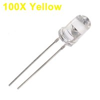 Gros Perles Jaunes Transparentes Pas Cher-Vente en gros- 100Pcs LED jaune 5mm Diode ronde Ultra Bright LED Lumière Émetteur Diode Lampe Eau Clear Through Hole Diode Bulb LED Light Bead