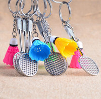 Wholesale badminton keychains - Best gift Gift gifts creative new ornaments key ring badminton key ring KR173 Keychains mix order 20 pieces a lot