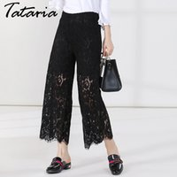 Wholesale Loose Trousers For Women - Women Lace Pants Floral Hollow Ankle Length Wide Leg Causal Pants High Waist Pantalones Anchos Loose Trousers For Ladies Garemay