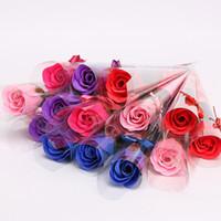flores pétalas de sabão venda por atacado-Livre 5 Cores 64 pcs Flor Sabonetes Banho Body Rose Pétala De Casamento favores Presentes de Aniversário Decoração de Casa Flor Soap Rose