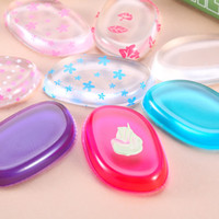 Wholesale Silicone Cosmetic Bag - Makeup Silicone Foundation Puffs Face Cosmetic Smooth Sponge Blender Silicone Powder Sponges Puff BB Cream Make Up Tool with Opp Bag 11color