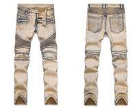 Wholesale Cool Designer Jeans - Fashion Men's Distressed Ripped Jeans Famous Fashion Cool Designer Slim Motorcycle Biker Causal Denim Pants Runway Jeans