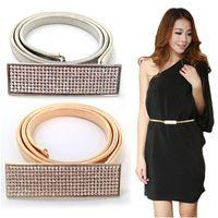 Wholesale Elastic Chain Belt - Woman Elastic Metal Chain 5 Row Rhinestone Belts for dresses Gold & Silver Chain Belts For Women Cinto Feminino Fashion bg-003