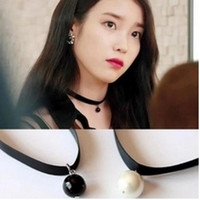 Wholesale Pearl Choker Necklace Gothic - 80s 90s Women Black Velvet Choker Necklace Gothic Womens Handmade Retro Burlesque Jewelry Single Black White Pearl Leather Choker Necklace