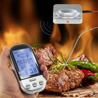 Wholesale Digital Wireless Thermometer Kitchen - LCD Kitchen Thermometer Barbecue Wireless BBQ Food Cooking Temperature Gauge Digital Beef Meat Probe Thermometer Timer Tools