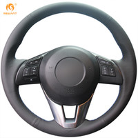 Wholesale New Leather Steering Wheel Cover - Mewant Black Genuine Leather Steering Wheel Cover for Mazda CX-5 Atenza 2014 New Mazda 3 CX-3 2016 Scion iA 2016