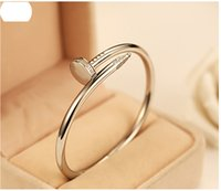 Wholesale Diamond Nail Ring Jewelry - Nail jewelry wholesale diamond bracelet couple models 18k rose gold bracelet and rings Korean star the same paragraph you want
