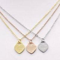 Wholesale Tiny Love Heart Pendant - Hot Fashion Jewelry Pendant Necklace Gold Silver Rose Stainless Steel Tiny Sideways heart shape Necklace Simple Stick Necklace