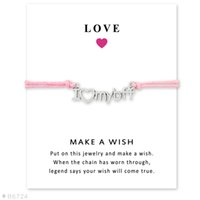 Wholesale I Love Forever - (10 pcs lot)I Love My Bff Best Friend Forever Charm Bracelets & Bangles for Women Girls Adjustable Friendship Statement Jewelry with Card