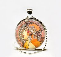 Wholesale Nouveau Art Glass - Wholesale Alphonse Mucha's Savonnerie art pendant, Art Nouveau necklace,Mucha art pendant Glass Photo Necklace