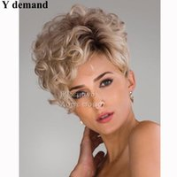 Wholesale Curly Short Wig Blond - New Short Bob Brown Blond Kinky Curly Wigs For Black Women Synthetic None Lace Wig, Japanese Kanekalon Fiber Afro Wgs