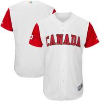 Wholesale Canada Mix - New Canada Baseball Jerseys Customized 2017 World Baseball Classic Jersey White Blue Color Stitched Size 40-56 Mix Order Baseball Jersey