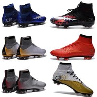 Top Mercurial Superfly FG CR7 Chaussures de football pour hommes, Nouveau Black Black Mercurial Superfly Soccer Boots Original Outdoor Football Shoes