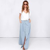 Neue Mode Herbst Denim Rock Maxi Jeans Rock Split Saias Plus Size High Taille Röcke Frauen Lange Röcke Sommer Mit Button