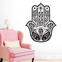 Wholesale Nursery Wall Stickers Fish - Arabic Vintage Home Decor Wall Stickers Hand Of Fatima Double Fish Decorative Wall Decals Vinyl art sticker