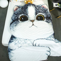 Wholesale Hotel Quilts - Cartoon Summer Quilt Blankets Dog Cat Animal Bedding comforter Sofa Throw Blanket Bulldog Bed Cover Plaids Bedspreads Home Textile YMQ21
