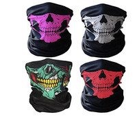 Wholesale Neck Warmer Mask Scarf - Motorcycle Cycling Scarf Half Face Mask Windproof Tribal Classic Skull Soft Polyester Facemask Headwear Warmer Cap Neck Ghost Multi Function