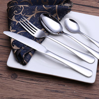 Wholesale Sets Steak Knife Fork Spoon - Steak Flatware Sets Western Tableware Food 4 piece Set Stainless Steel Cutlery Set Fork Knife Spoon Tea Spoon Dinnerware Set