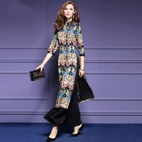 Wholesale Casual Dress Pant Legs - Women Retro Long Dress 2017 Women Floral Print Split Dresses+Wide Leg Pants 2pcs Sets Girls Plus Size Bohemian Outfits Women Vestidos WD350