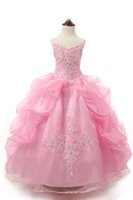 Wholesale Jeweled Ball Gown Prom Dresses - Pink Girls Jeweled Pageant Gowns Crystals Beads Little Princess Prom Party Dresses Big Kids Lace Appliques Ball Gown