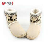 Wholesale Warm Indoor Boots Women - Wholesale-Men Women Snow boots Autumn Winter Warm Cotton-padded Lovers At Home Indoor Shoes plush cheap snow boots ST18