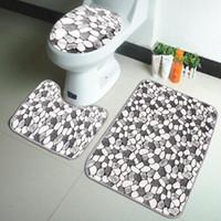Wholesale coral bath rugs mats resale online - 3PCS Coral Velvet Pebble Pattern Bathroom Mats Rugs Set Non slip Washable Floor Carpet Bath Mat Pedestal Toilet Rug Kits