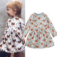Wholesale Spandex Girl Clothes - Ins Baby girl dress Cute Fox print dresses Fashion Girls clothing animal 2017 Spring autumn new Bottom long sleeve Dress Spandex cotton