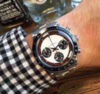 Wholesale Antique Silver Belt - Luxury Top Brand Chronograph Quartz Watch For Mens Stainless Steel Fashion Antique Paul Newman Wristwatch Business Men Watch