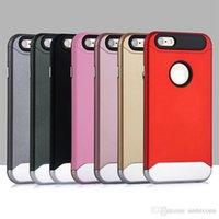iphone 5s arka kapak toptan satış-IPhone7 7 Artı 6 S Artı 5G 5 S Hibrid Durumda Ince Zırh Vaka Smartphone Backcover 2in1 TPUPC Elektroliz Düğmesi Tasarım