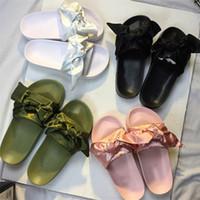 Wholesale Cheap Burgundy Bags - 2017 Newest Cheap Rihanna Fenty Shoes Bandana Slide Bow With Dust Bag Leadcat bowtie Slides Women Sandals Pink Green White Blue Slippers