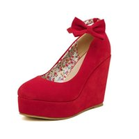 Wholesale Ladies Suede Platform Wedge Shoes - suede leather wedges shoes women's ankle strap high platform wedges heel shoes ladies wedding party shoe 2 colors heel weight 11 cm