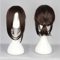 Wholesale Headbands Dark Brown Hair - MCOSER Free Shipping Attack on Titan Hanji Zoe Style 38cm Medium Dark Brown Ponytail Synthetic Wig