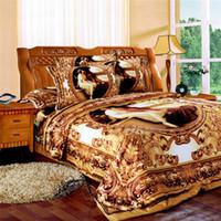 westliche bettwäsche setzt königin großhandel-Großhandel-Svetanya western Ölgemälde Bettwäsche goldene Bettwäsche 3D-Bettwäschesatz König Königin voller Größe Bettbezug-Sets