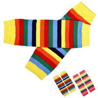 Wholesale Rainbow Leg Warmer - Wholesale- NEW Fabulous Fashion Baby Girl Rainbow Kneepad Socks Leg Warmer wholesale O12