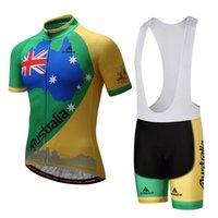 Wholesale Australia Cycling Jersey - Australia men summer cycling jersey short sleeve and bib shorts set gel pad quick dry Australia cycling clothing