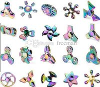 Wholesale Figit Toys - Rainbow Alloy Fidget Finger Toys Colorful Figit Gyro Toy Ultra Durable Stainless Steel Bearing High Speed Spins Precision Metal Hand Spinner
