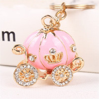 Wholesale Cartoon Wedding Gift - Hot 4Colors Gold Plated Alloy Cinderella Pumpkin Carriage Keychain Key Chain Wedding Favors And Gifts Wedding Souvenirs
