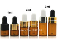 Wholesale 1ml Perfume Vials - Mini 1ml 2ml 3ml Amber Glass Dropper Bottle Essential Oil Display Vials Small Serum Perfume Brown Sample Test Bottle