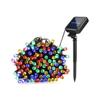 Barato Lâmpada Solar Rgb-Lâmpadas solares LED String Lights 100/200 LEDS Outdoor Fairy Holiday Christmas Party Garlands Solar Garden Garden Lights Waterproof