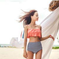 dc1747bb20e 2018 Hot Sales Bikinis Mujeres traje de Baño Rosa Bikini de Cintura Alta  Conjunto Sweety Ruffle Bikini Flunquete Strapless traje de Baño Trajes de  Baño