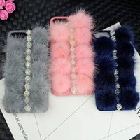 Lujo Cálido Bowknot Crown Pearl Plush Phone Case para Iphone 6 6s 6 más 7 7 plus Caso lindo Bling piel bola contraportada