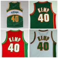 Wholesale Embroidery Sports Jerseys - Cheap 40 Shawn Kemp Jersey Men Super sonics Seattle Supersonics Basketball Jerseys Shawn Kemp For Sport Fans Embroidery Green White Yellow