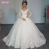 Wholesale Plus Size Ivory Dresses - 2017 Cheap V Neck Long Sleeve Wedding Dress Ivory Lace Tulle Lace-up Ball Gown Bridal Gowns Plus Size Dresses