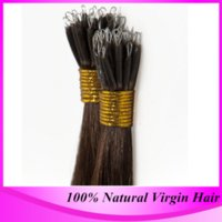 Wholesale Micro Nano Rings - Wholesale- Free Shipping 100strand pack Micro Nano Ring Hair Extensions #613 Blonde Brazilian Straight High Quality Hair