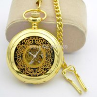 Wholesale Mechanical Wind Up Pocket Watches - Wholesale-H025 Luxury Skeleton Golden Tone Hand Wind up Mechanical Mens Pocket Watch Chain Nice Xmas Gift watch for congratulation