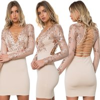 Wholesale Strappy Back Mini Dress - Women Sexy Sequin Sheer Party Dresses Lady Flowers Pattern Strappy V-neck Long Sleeve Back Criss Cross Hollow Out Clubbing Bodycon Dress