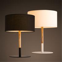 tuch tischlampen großhandel-Retro Coffee Shop Tischlampe Holztuch Vintage Schreibtischlampe Schlafzimmer Stehtischlampe Schreibtischlampe Schwarz / Weiß E27,90V-220V