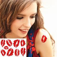 Wholesale Lip Sticker Tatto Wholesale - Wholesale- Sexy Red Lips Temporary Body Art Flash Tattoo Sticker 10*17cm Waterproof Henna Tatoo Party Gift Tatto FREE SHIPPING