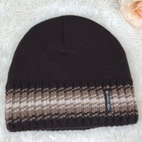 Wholesale Comfortable Winter Hats Men - Mens Knitted Hats Inside With Velvet More Soft And Comfortable Gentle Mans Caps Winter Warm Hat Gift Boys Skull Cap H20